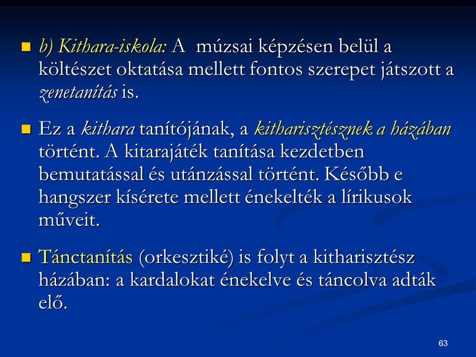 63  b) Kithara-iskola: A múzsai képzésen belül a költészet oktatása mellett fontos szerepet játszott a zenetanítás is.  Ez a kithara tanítójának, a