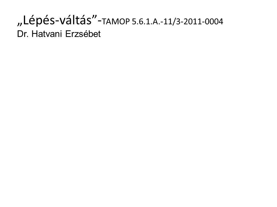 """""""Lépés-váltás""""- TAMOP 5.6.1.A.-11/3-2011-0004 Dr. Hatvani Erzsébet"""