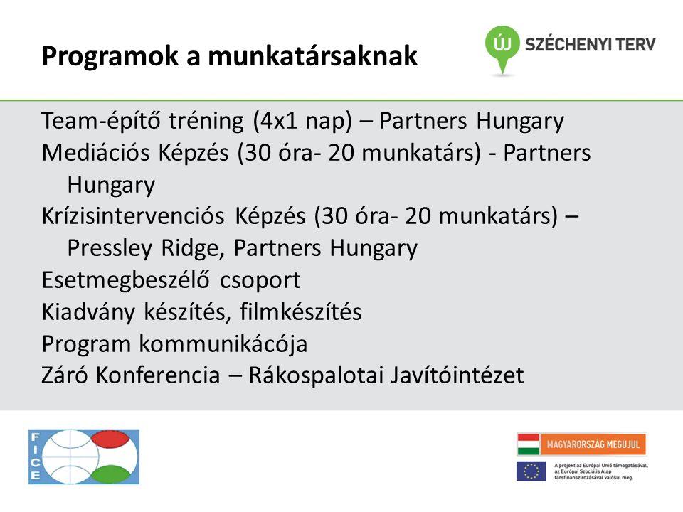Programok a munkatársaknak Team-építő tréning (4x1 nap) – Partners Hungary Mediációs Képzés (30 óra- 20 munkatárs) - Partners Hungary Krízisintervenci