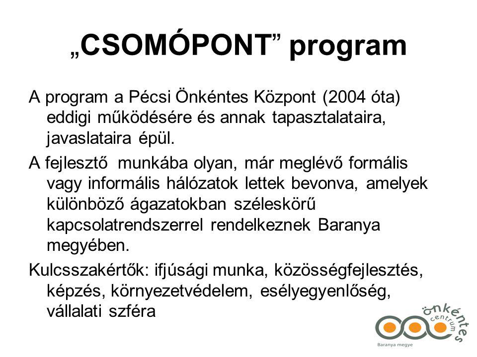 """""""CSOMÓPONT program A program a Pécsi Önkéntes Központ (2004 óta) eddigi működésére és annak tapasztalataira, javaslataira épül."""