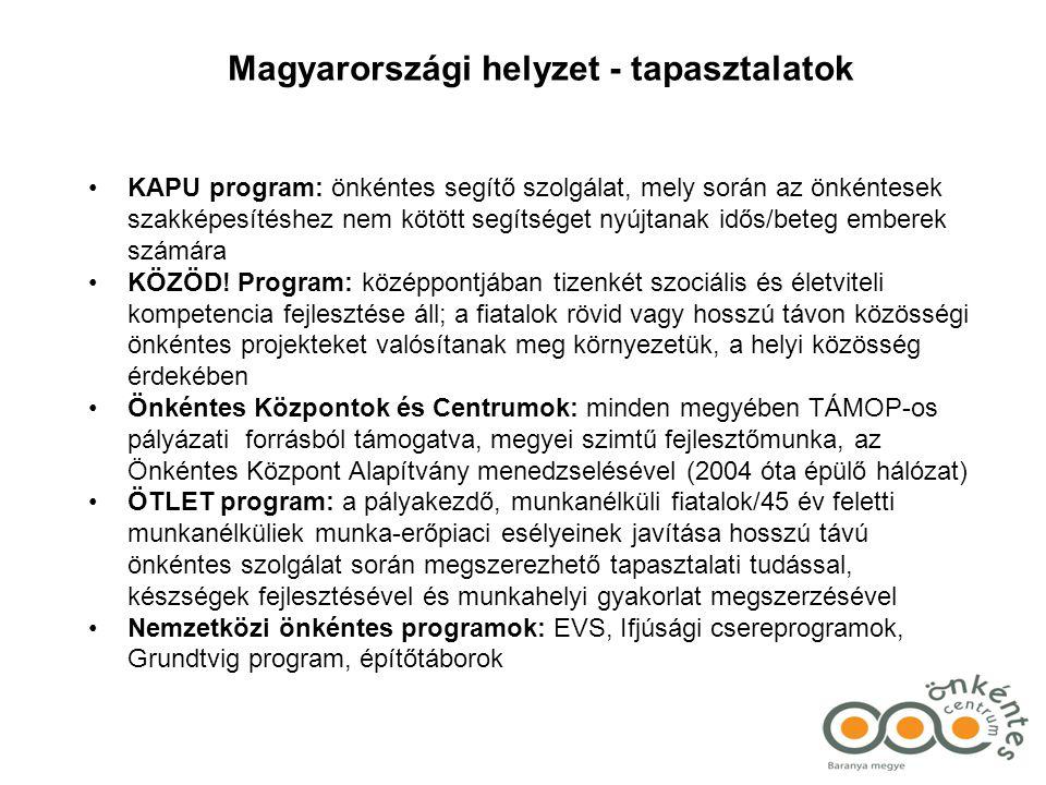 Magyarországi helyzet - tapasztalatok •KAPU program: önkéntes segítő szolgálat, mely során az önkéntesek szakképesítéshez nem kötött segítséget nyújtanak idős/beteg emberek számára •KÖZÖD.