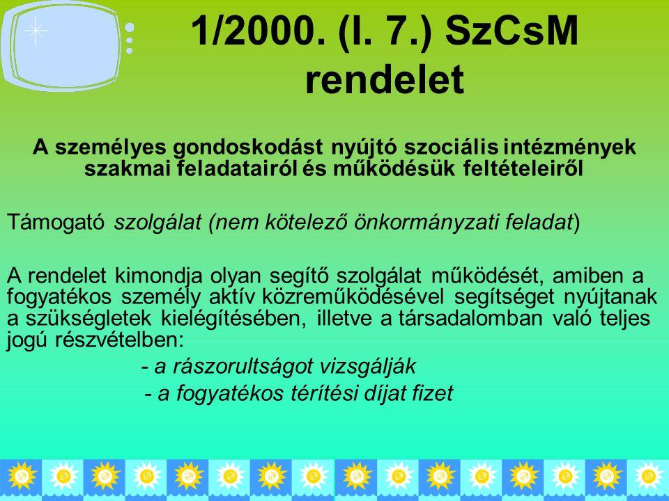 1/2000. (I. 7.) SzCsM rendelet A személyes gondoskodást nyújtó szociális intézmények szakmai feladatairól és működésük feltételeiről Támogató szolgála