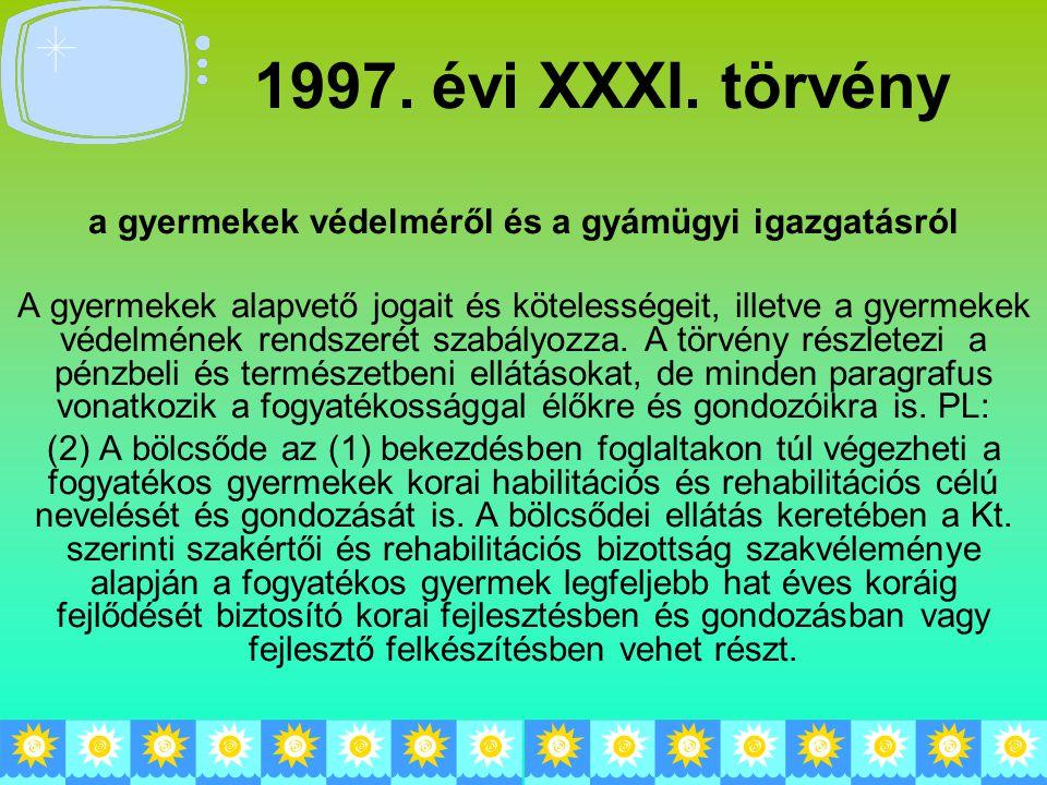 1997. évi XXXI. törvény a gyermekek védelméről és a gyámügyi igazgatásról A gyermekek alapvető jogait és kötelességeit, illetve a gyermekek védelmének