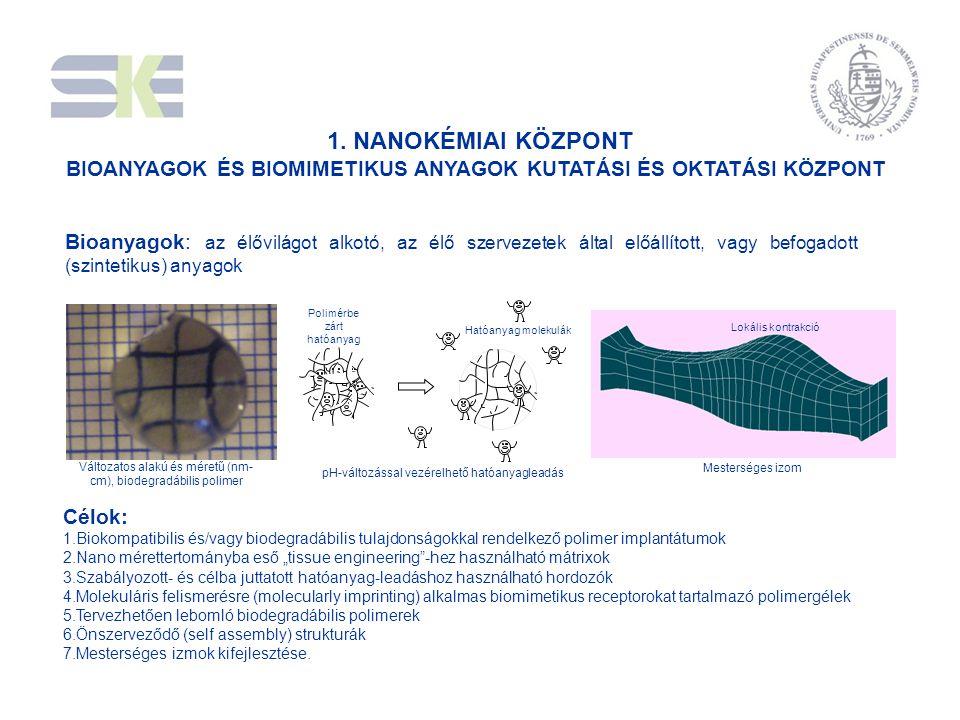 1. NANOKÉMIAI KÖZPONT BIOANYAGOK ÉS BIOMIMETIKUS ANYAGOK KUTATÁSI ÉS OKTATÁSI KÖZPONT Célok: 1.Biokompatibilis és/vagy biodegradábilis tulajdonságokka