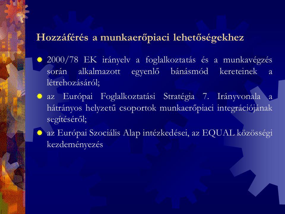 Hozzáférés a munkaerőpiaci lehetőségekhez  2000/78 EK irányelv a foglalkoztatás és a munkavégzés során alkalmazott egyenlő bánásmód kereteinek a létrehozásáról;  az Európai Foglalkoztatási Stratégia 7.