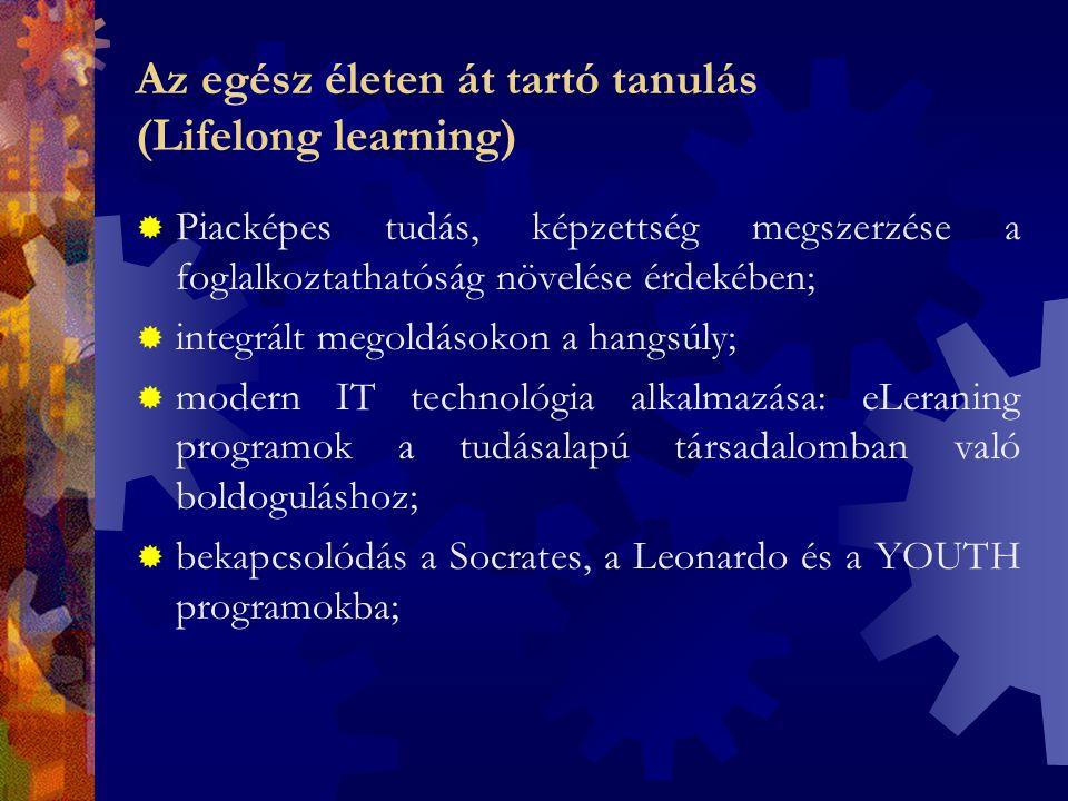 Az egész életen át tartó tanulás (Lifelong learning)  Piacképes tudás, képzettség megszerzése a foglalkoztathatóság növelése érdekében;  integrált megoldásokon a hangsúly;  modern IT technológia alkalmazása: eLeraning programok a tudásalapú társadalomban való boldoguláshoz;  bekapcsolódás a Socrates, a Leonardo és a YOUTH programokba;