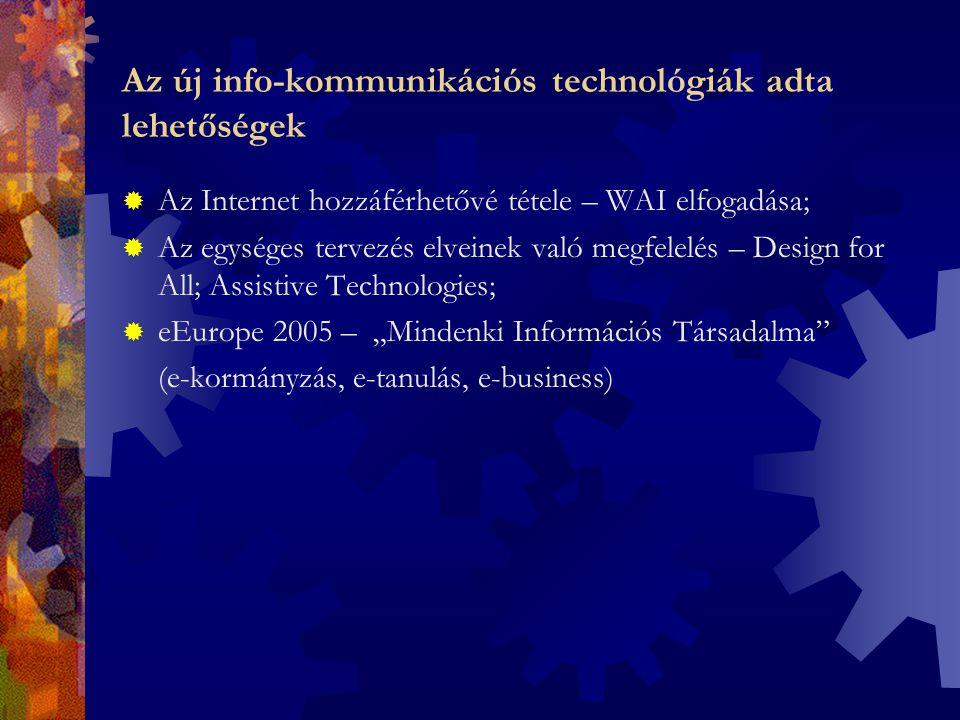 """Az új info-kommunikációs technológiák adta lehetőségek  Az Internet hozzáférhetővé tétele – WAI elfogadása;  Az egységes tervezés elveinek való megfelelés – Design for All; Assistive Technologies;  eEurope 2005 – """"Mindenki Információs Társadalma (e-kormányzás, e-tanulás, e-business)"""
