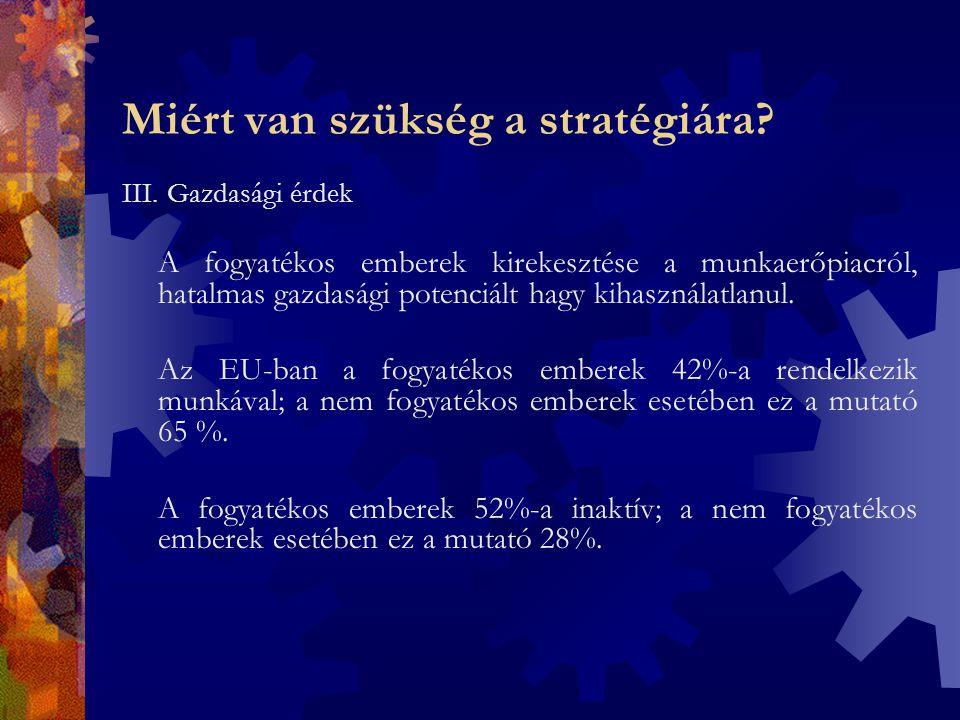 """A stratégia jellemzői  Célja a befogadó társadalom megteremése """"Egység a sokféleségben ; """"United in diversity – az emberi különbözőség, másság elfogadása  Kulcsterületei: -szoros együttműködés a tagállamok között, valamint a tagállamok és a Bizottság között; -a fogyatékos emberek bevonása a tervezésbe, a döntéshozatalba; - a fogyatékosságügy mainstreamingje."""