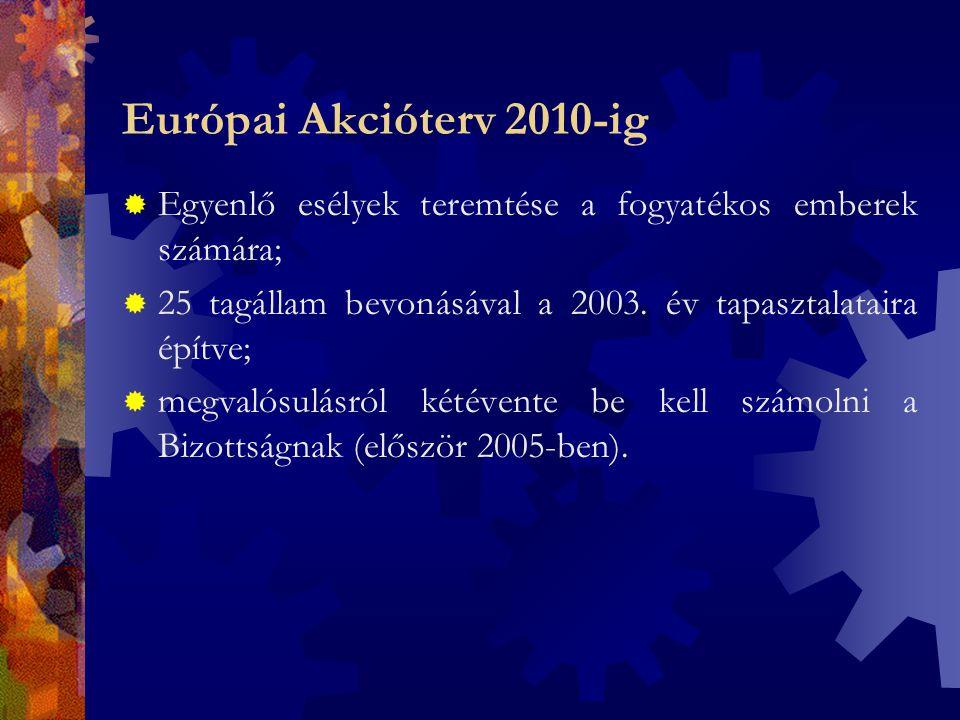 Európai Akcióterv 2010-ig Az első két év kihívásai:  hozzáférés a munkaerőpiaci lehetőségekhez, hosszú távú foglalkoztatás;  hozzáférés az egész életen át tartó tanulási lehetőségekhez a foglalkoztathatóság, az alkalmazkodóképesség, az aktív társadalmi részvétel növelése érdekében;  az új, modern technológiák adta lehetőségek kihasználása, ezáltal a foglalkoztatásban való részvétel megkönnyítése;  egyenlő hozzáférés az épített környezethez, a munkahelyi részvétel és a fokozott gazdasági és társadalmi integráció elősegítése.
