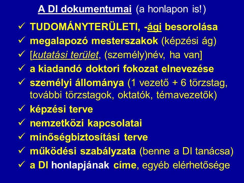 A DI dokumentumai (a honlapon is!)  TUDOMÁNYTERÜLETI, -ági besorolása  megalapozó mesterszakok (képzési ág)  [kutatási terület, (személy)név, ha va