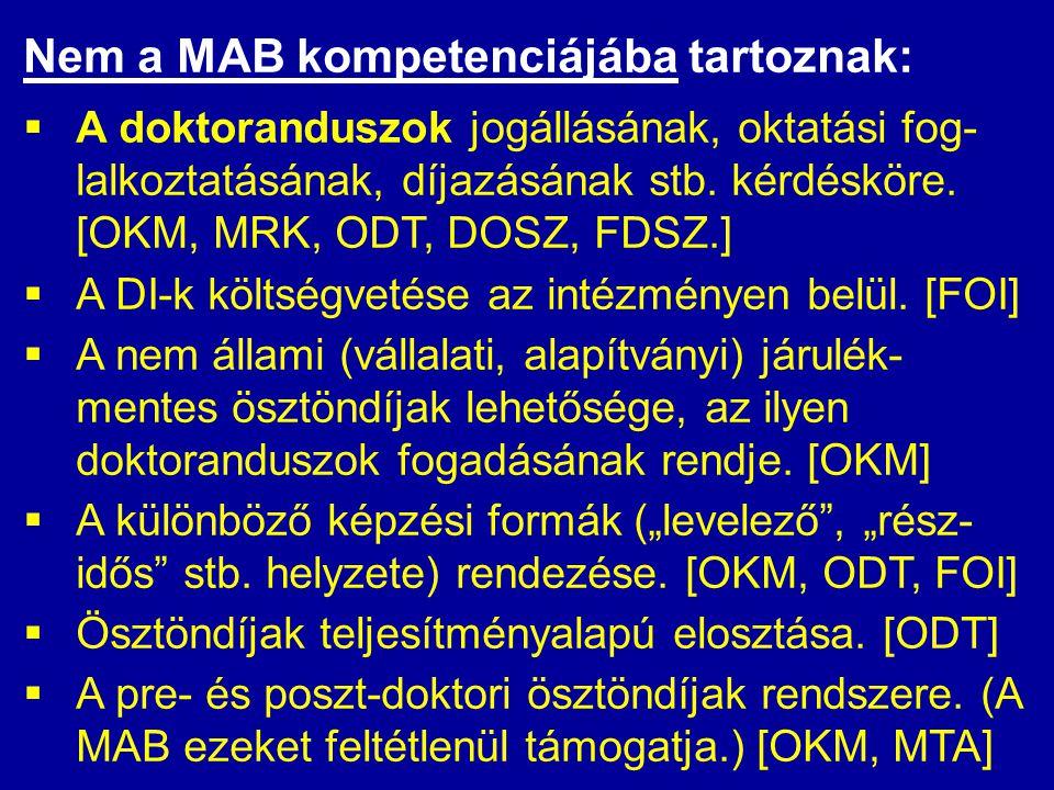 Nem a MAB kompetenciájába tartoznak:  A doktoranduszok jogállásának, oktatási fog- lalkoztatásának, díjazásának stb. kérdésköre. [OKM, MRK, ODT, DOSZ