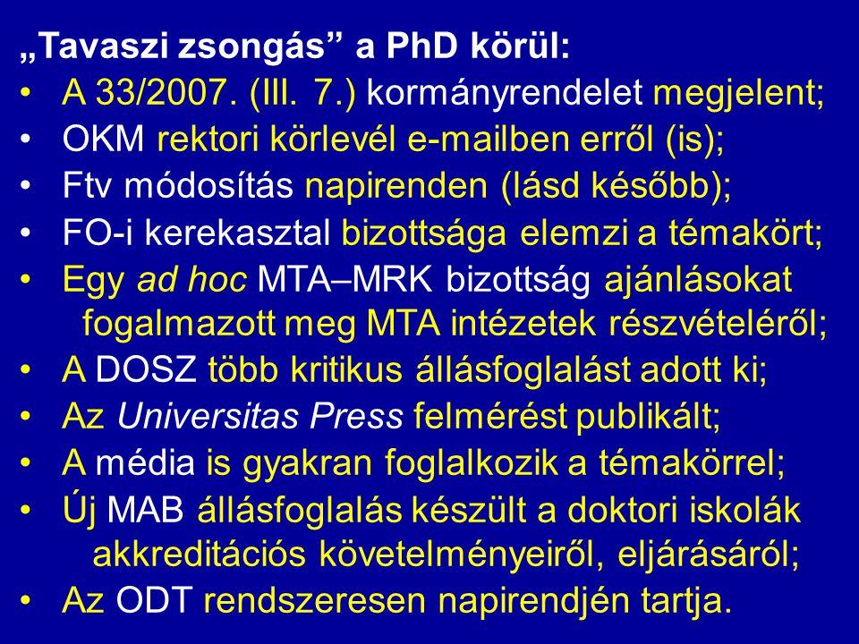 """""""Tavaszi zsongás"""" a PhD körül: •A 33/2007. (III. 7.) kormányrendelet megjelent; •OKM rektori körlevél e-mailben erről (is); •Ftv módosítás napirenden"""