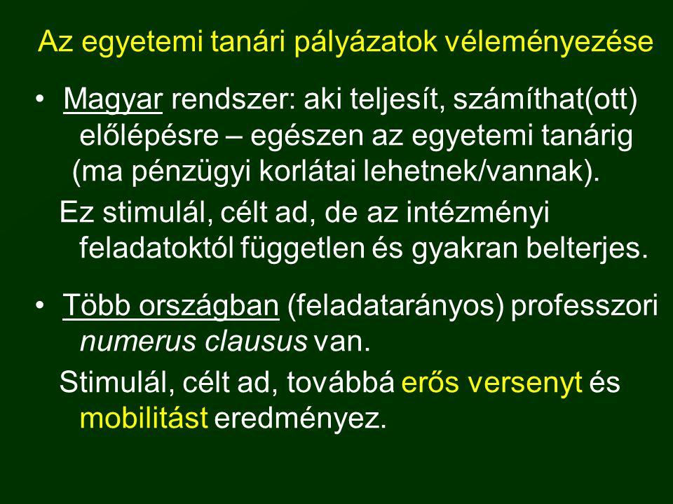Az egyetemi tanári pályázatok véleményezése • Magyar rendszer: aki teljesít, számíthat(ott) előlépésre – egészen az egyetemi tanárig (ma pénzügyi korl
