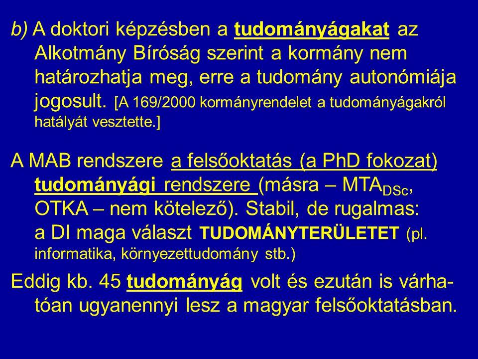 b) A doktori képzésben a tudományágakat az Alkotmány Bíróság szerint a kormány nem határozhatja meg, erre a tudomány autonómiája jogosult. [A 169/2000