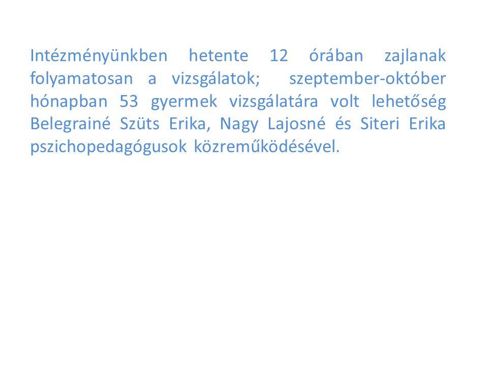 Intézményünkben hetente 12 órában zajlanak folyamatosan a vizsgálatok; szeptember-október hónapban 53 gyermek vizsgálatára volt lehetőség Belegrainé Szüts Erika, Nagy Lajosné és Siteri Erika pszichopedagógusok közreműködésével.