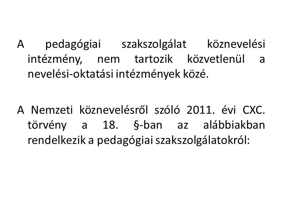 A pedagógiai szakszolgálat köznevelési intézmény, nem tartozik közvetlenül a nevelési-oktatási intézmények közé.