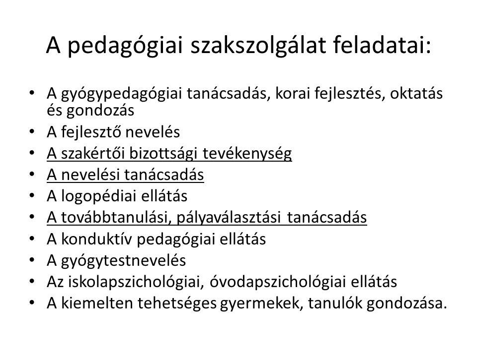A pedagógiai szakszolgálat feladatai: • A gyógypedagógiai tanácsadás, korai fejlesztés, oktatás és gondozás • A fejlesztő nevelés • A szakértői bizottsági tevékenység • A nevelési tanácsadás • A logopédiai ellátás • A továbbtanulási, pályaválasztási tanácsadás • A konduktív pedagógiai ellátás • A gyógytestnevelés • Az iskolapszichológiai, óvodapszichológiai ellátás • A kiemelten tehetséges gyermekek, tanulók gondozása.