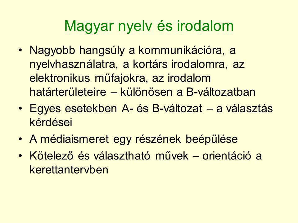 Magyar nyelv és irodalom •Nagyobb hangsúly a kommunikációra, a nyelvhasználatra, a kortárs irodalomra, az elektronikus műfajokra, az irodalom határter
