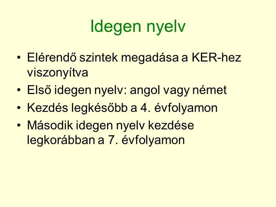 Idegen nyelv •Elérendő szintek megadása a KER-hez viszonyítva •Első idegen nyelv: angol vagy német •Kezdés legkésőbb a 4. évfolyamon •Második idegen n