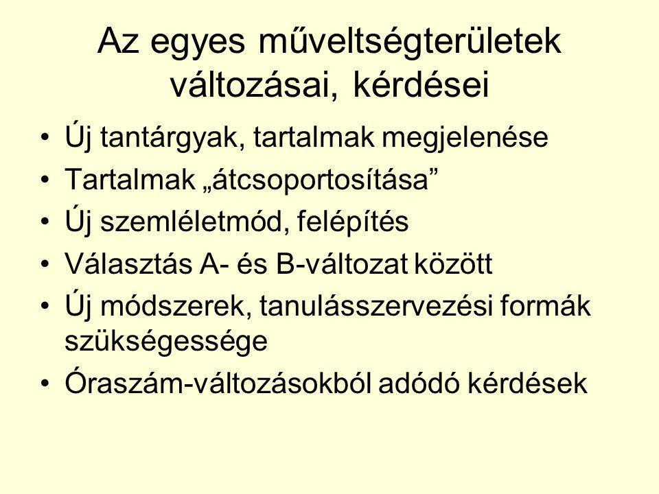 Magyar nyelv és irodalom •Nagyobb hangsúly a kommunikációra, a nyelvhasználatra, a kortárs irodalomra, az elektronikus műfajokra, az irodalom határterületeire – különösen a B-változatban •Egyes esetekben A- és B-változat – a választás kérdései •A médiaismeret egy részének beépülése •Kötelező és választható művek – orientáció a kerettantervben