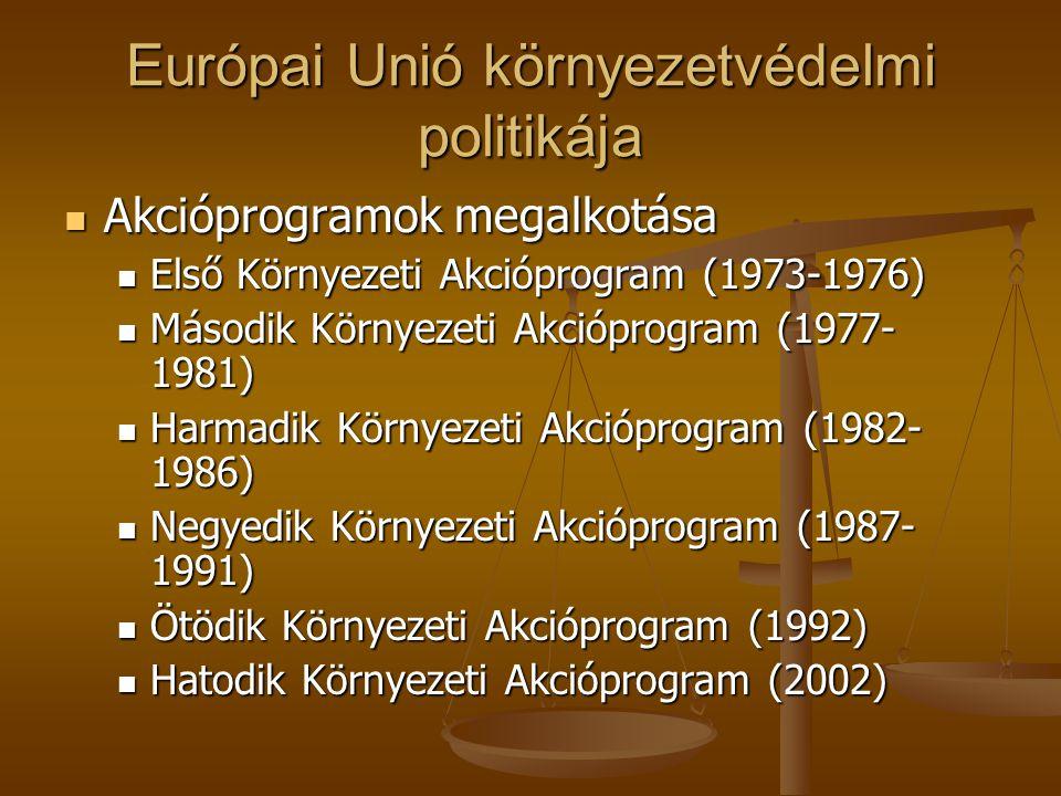 Európai Unió környezetvédelmi politikája  Akcióprogramok megalkotása  Első Környezeti Akcióprogram (1973-1976)  Második Környezeti Akcióprogram (19