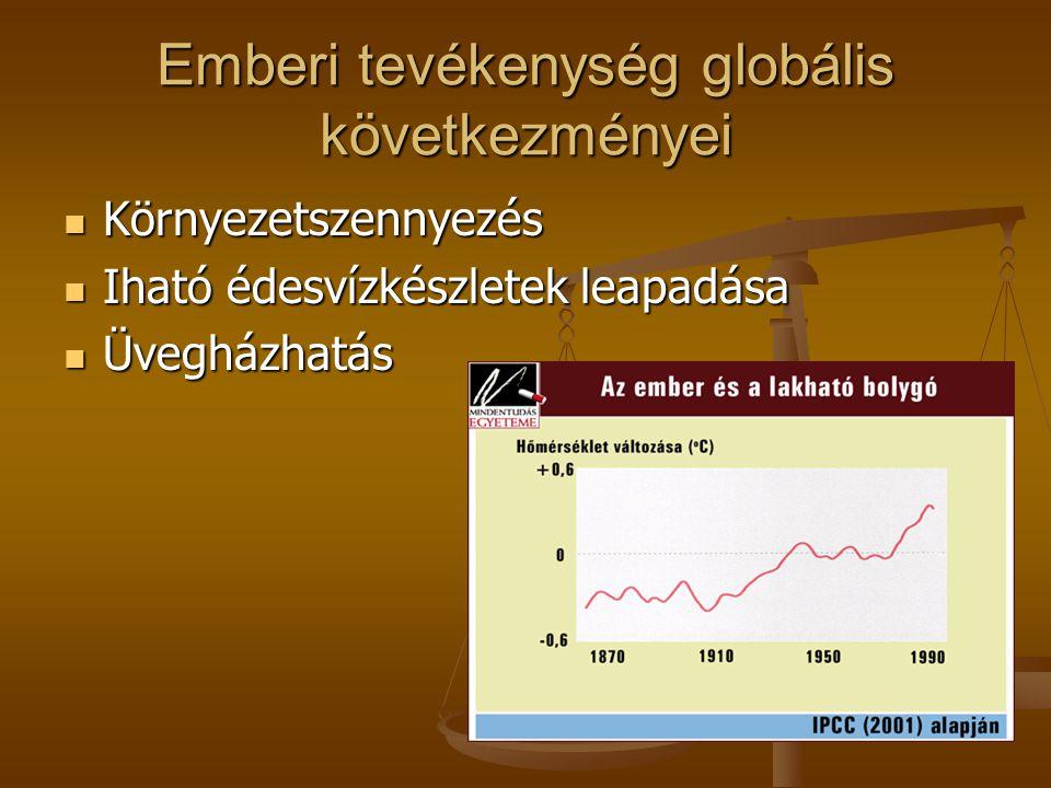 Emberi tevékenység globális következményei  Környezetszennyezés  Iható édesvízkészletek leapadása  Üvegházhatás