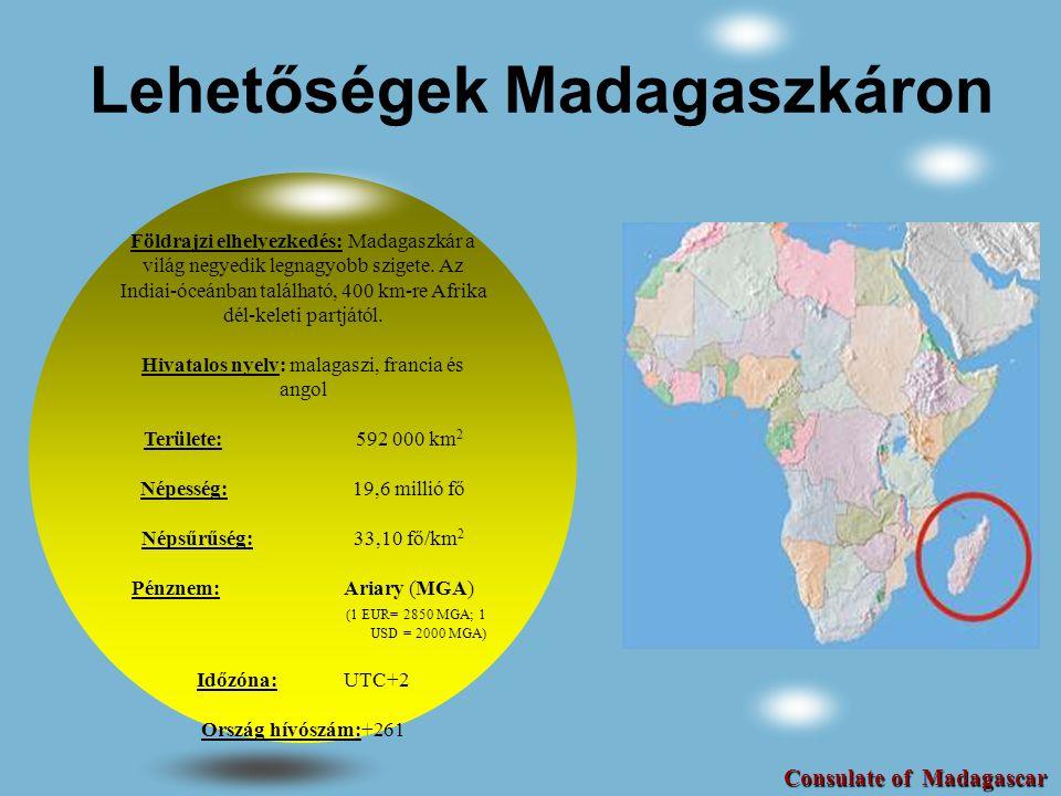 Madagaszkár gazdasága** Népességnövekedés (éves %)2.9 Várható élettartam, összesen (év)61 GDP (USD) (milliárd, 2009) 8,589 GDP növekedés (éves %, 2009)-3.7 Infláció, fogyasztói árak (éves %, 2009) 9 Külföldi direkt befektetés, nettó bevétel (milliárd USD 0,543) (GDP %) 6.3 Vállalkozás elindításához szükséges idő(nap) 4 Internet használók (x1000 fő)320 Fő kereskedő partnerek: Európai Unió, USA, Kína Fő befektető partnerek:Kanada, USA, Franciaország, Mauritius, Egyesült Királyság Forrás: The World Bank, Data Indicators ** 2006 és 2009 közötti adatok Consulate of Madagascar