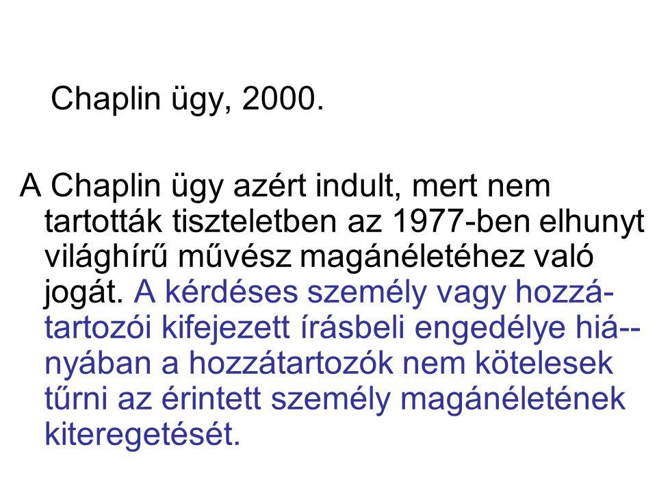 Chaplin ügy, 2000. A Chaplin ügy azért indult, mert nem tartották tiszteletben az 1977-ben elhunyt világhírű művész magánéletéhez való jogát. A kérdés