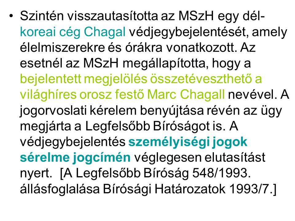 •Szintén visszautasította az MSzH egy dél- koreai cég Chagal védjegybejelentését, amely élelmiszerekre és órákra vonatkozott. Az esetnél az MSzH megál