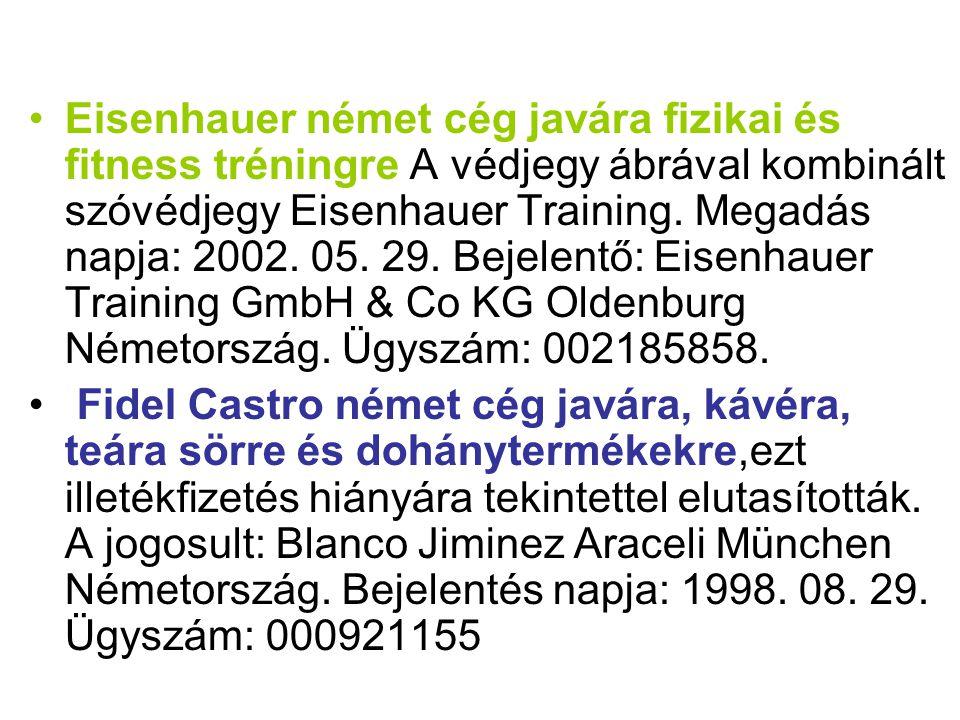 •Eisenhauer német cég javára fizikai és fitness tréningre A védjegy ábrával kombinált szóvédjegy Eisenhauer Training. Megadás napja: 2002. 05. 29. Bej