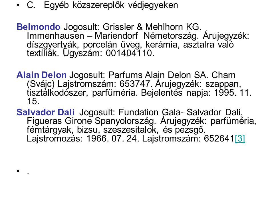•C. Egyéb közszereplők védjegyeken Belmondo Jogosult: Grissler & Mehlhorn KG. Immenhausen – Mariendorf Németország. Árujegyzék: díszgyertyák, porcelán