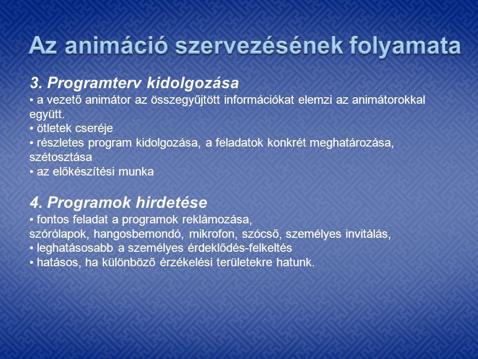 3. Programterv kidolgozása • a vezető animátor az összegyűjtött információkat elemzi az animátorokkal együtt. • ötletek cseréje • részletes program ki