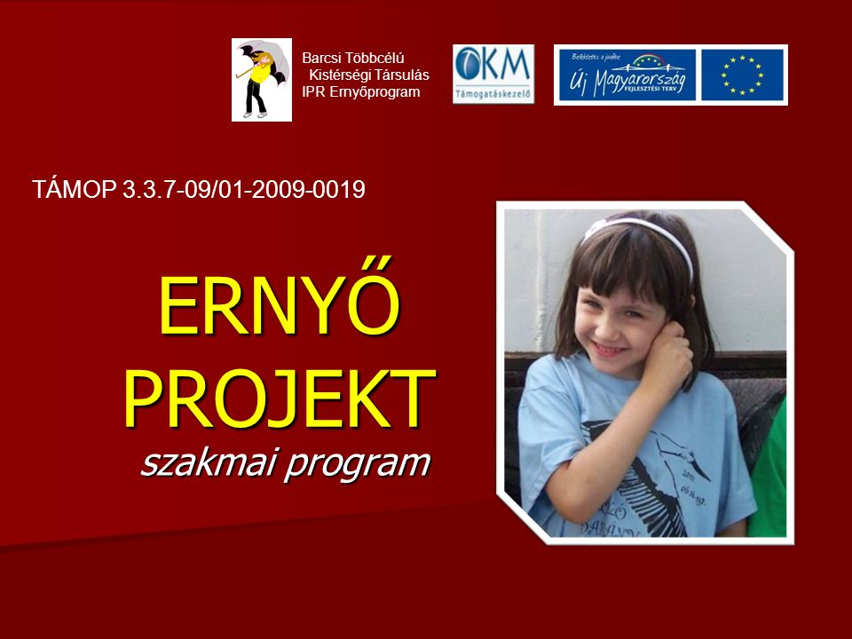 ERNYŐ PROJEKT szakmai program Barcsi Többcélú Kistérségi Társulás IPR Ernyőprogram TÁMOP 3.3.7-09/01-2009-0019