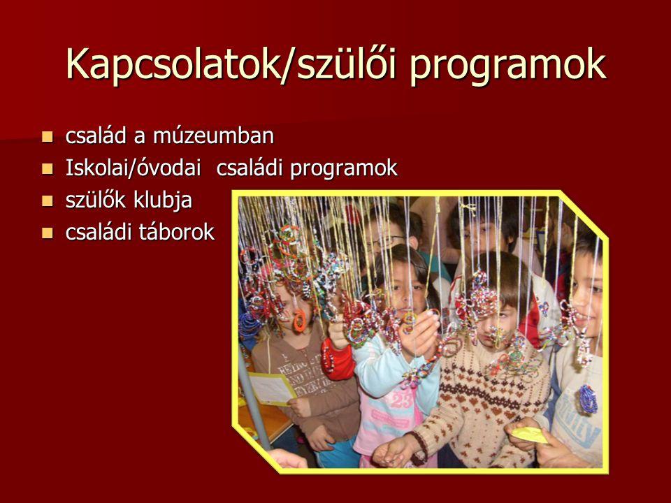 Kapcsolatok/szülői programok  család a múzeumban  Iskolai/óvodai családi programok  szülők klubja  családi táborok