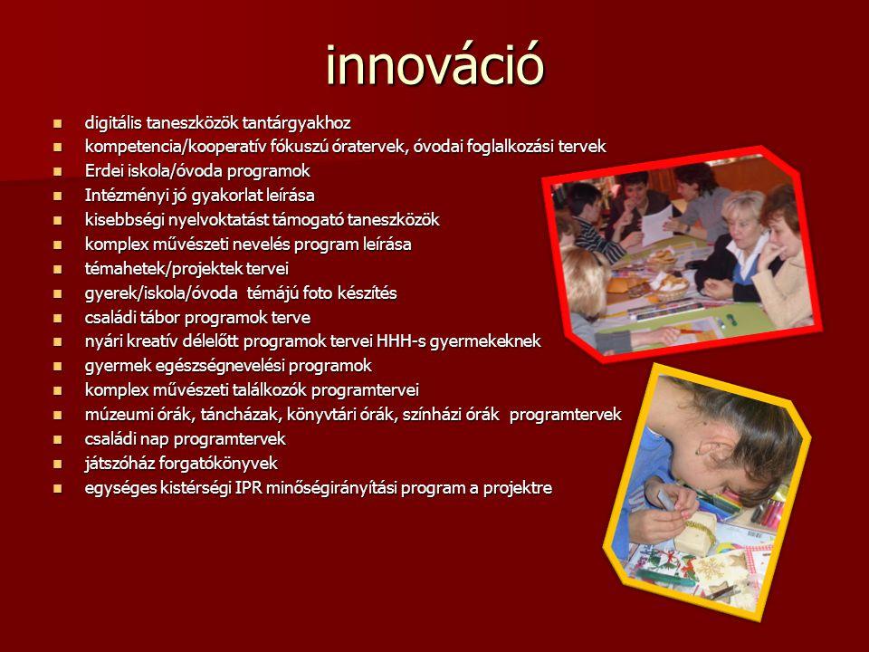innováció  digitális taneszközök tantárgyakhoz  kompetencia/kooperatív fókuszú óratervek, óvodai foglalkozási tervek  Erdei iskola/óvoda programok