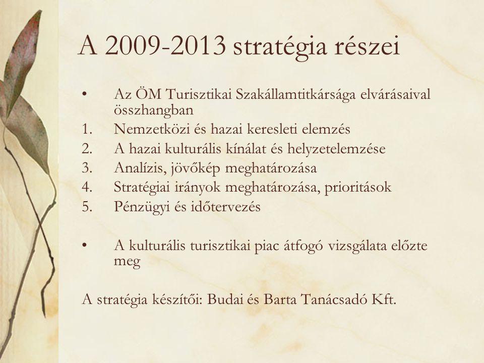 A 2009-2013 stratégia részei •Az ÖM Turisztikai Szakállamtitkársága elvárásaival összhangban 1.Nemzetközi és hazai keresleti elemzés 2.A hazai kulturá