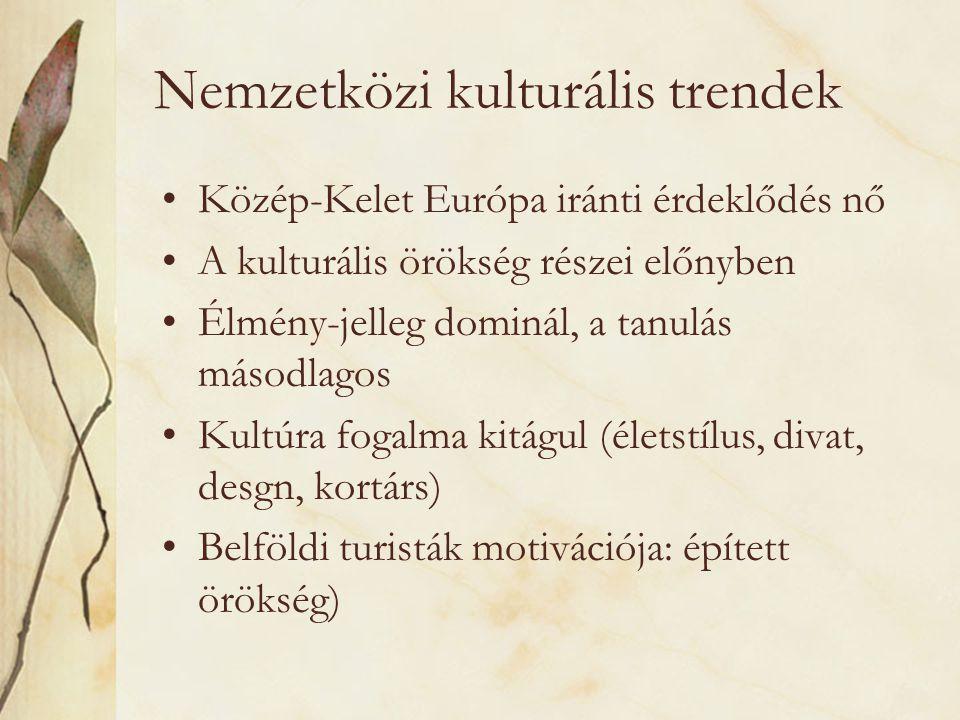 Nemzetközi kulturális trendek •Közép-Kelet Európa iránti érdeklődés nő •A kulturális örökség részei előnyben •Élmény-jelleg dominál, a tanulás másodla