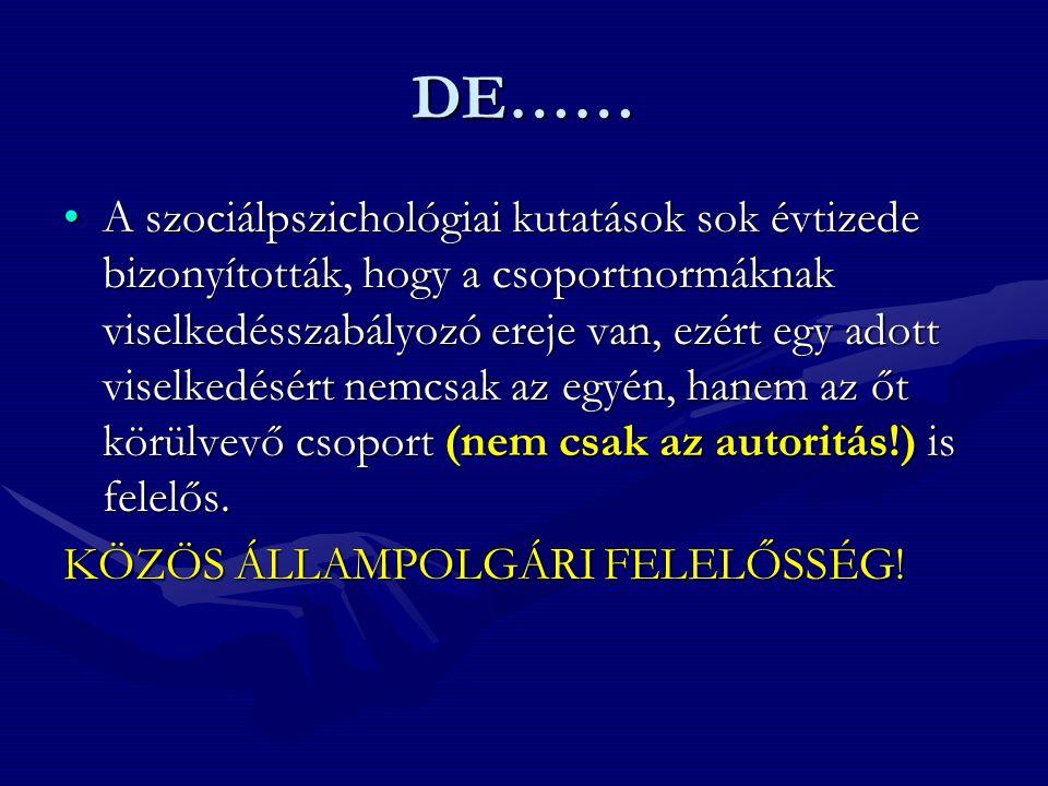 DE…… •A szociálpszichológiai kutatások sok évtizede bizonyították, hogy a csoportnormáknak viselkedésszabályozó ereje van, ezért egy adott viselkedésért nemcsak az egyén, hanem az őt körülvevő csoport (nem csak az autoritás!) is felelős.