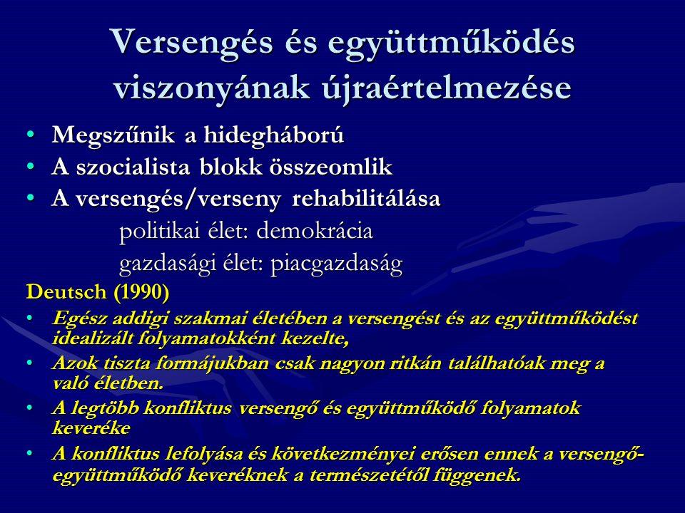 """Következtetés •A versengés és verseny """"újrafelfedezése nagyon lényeges lépés a magyar társadalom esetében •Nem lehet eléggé hangsúlyozni azt, hogy nagyon nagy jelentősége van annak, hogy milyen verseny és versengés az, amely az adott társadalmat jellemzi."""