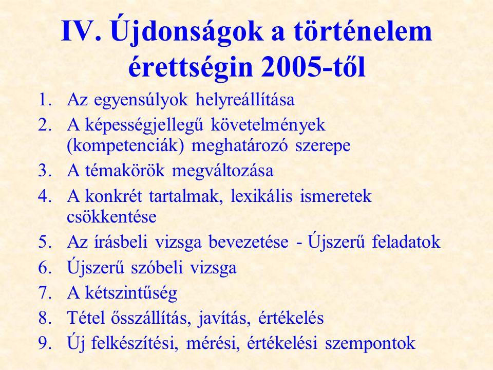 IV. Újdonságok a történelem érettségin 2005-től 1.Az egyensúlyok helyreállítása 2.A képességjellegű követelmények (kompetenciák) meghatározó szerepe 3