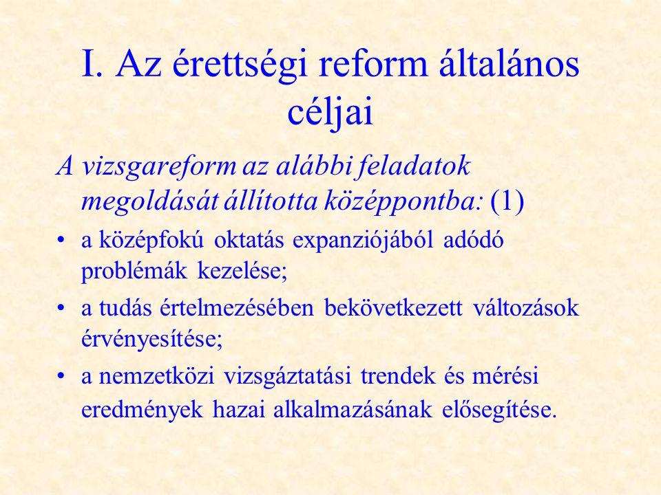 I. Az érettségi reform általános céljai A vizsgareform az alábbi feladatok megoldását állította középpontba: (1) •a középfokú oktatás expanziójából ad