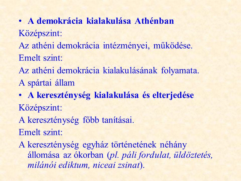 •A demokrácia kialakulása Athénban Középszint: Az athéni demokrácia intézményei, működése. Emelt szint: Az athéni demokrácia kialakulásának folyamata.