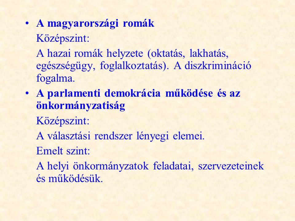 •A magyarországi romák Középszint: A hazai romák helyzete (oktatás, lakhatás, egészségügy, foglalkoztatás). A diszkrimináció fogalma. •A parlamenti de