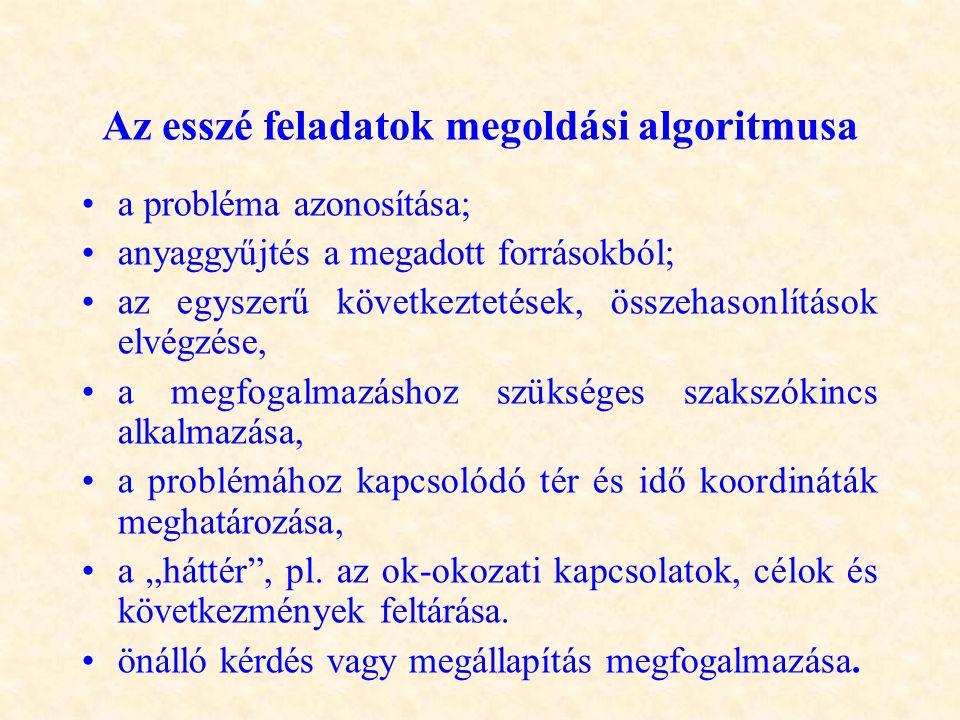 Az esszé feladatok megoldási algoritmusa •a probléma azonosítása; •anyaggyűjtés a megadott forrásokból; •az egyszerű következtetések, összehasonlításo