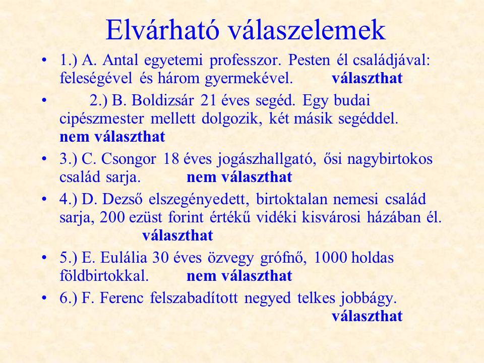 Elvárható válaszelemek •1.) A. Antal egyetemi professzor. Pesten él családjával: feleségével és három gyermekével.választhat •2.) B. Boldizsár 21 éves