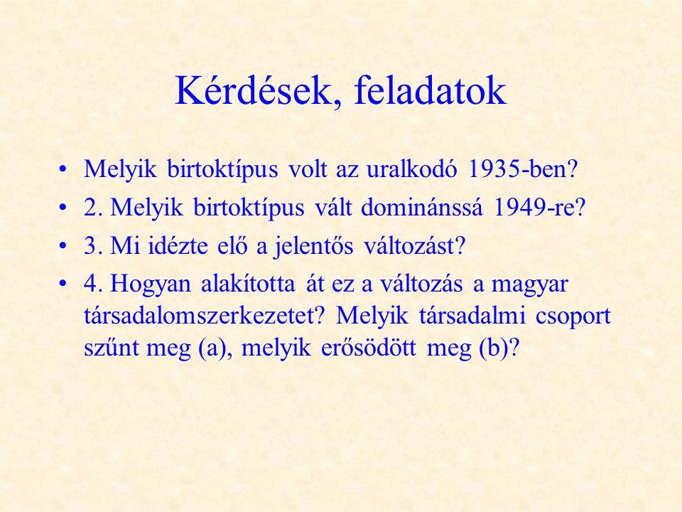 Kérdések, feladatok •Melyik birtoktípus volt az uralkodó 1935-ben? •2. Melyik birtoktípus vált dominánssá 1949-re? •3. Mi idézte elő a jelentős változ