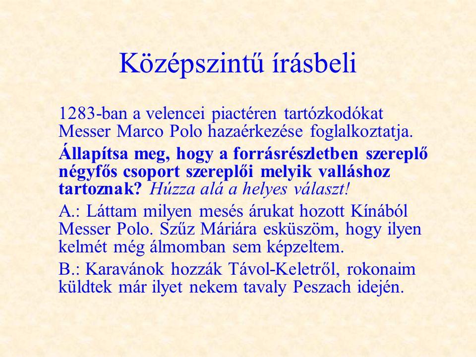 Középszintű írásbeli 1283-ban a velencei piactéren tartózkodókat Messer Marco Polo hazaérkezése foglalkoztatja. Állapítsa meg, hogy a forrásrészletben