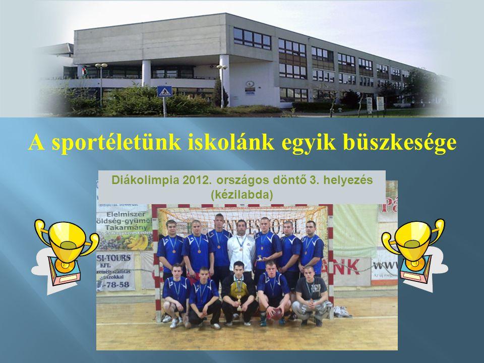 A sportéletünk iskolánk egyik büszkesége Diákolimpia 2012. országos döntő 3. helyezés (kézilabda)