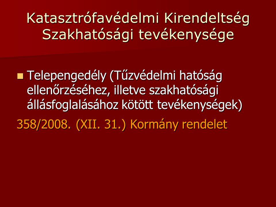 Katasztrófavédelmi Kirendeltség Szakhatósági tevékenysége  Telepengedély (Tűzvédelmi hatóság ellenőrzéséhez, illetve szakhatósági állásfoglalásához kötött tevékenységek) 358/2008.