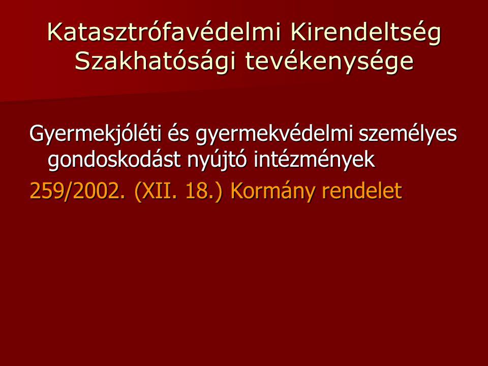Katasztrófavédelmi Kirendeltség Szakhatósági tevékenysége Gyermekjóléti és gyermekvédelmi személyes gondoskodást nyújtó intézmények 259/2002.
